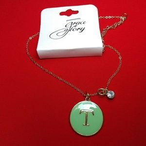 Jewelry - Grace + Glory Green initial T gold tone Necklace